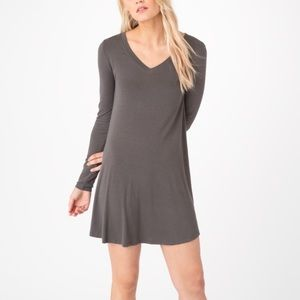 Z Supply 'The Long Sleeve Breezy Dress' Charcoal